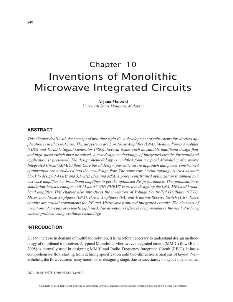 Inventions Of Monolithic Microwave Integrated Circuits Where Are Used