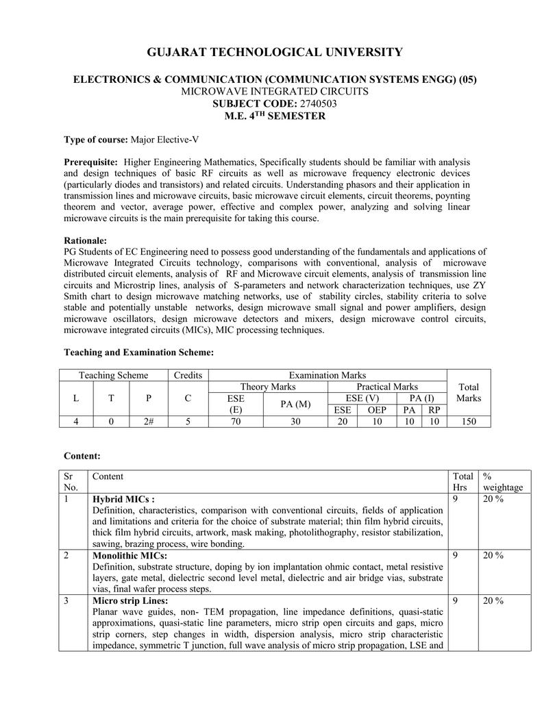 2740503 Gujarat Technological University Understand Basic Circuit Theory Designing Electronic Circuits