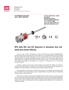 MTS Adds NEC and CEC Approvals to Hazardous