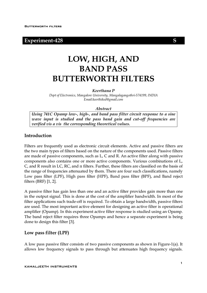 LOW, HIGH, AND BAND P BUTTERWORTH FILTERS on