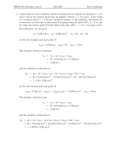 MECH 211 Sections 2 and 3 Fall 2001 Test 3 Solutions 1. A girl