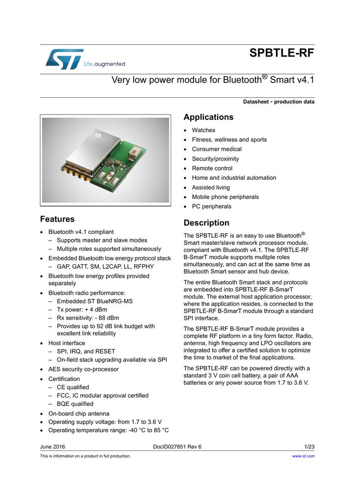 SPBTLE-RF Datasheet - STMicroelectronics