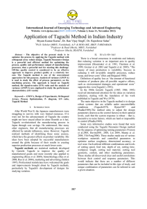 Application of Taguchi Method in Indian Industry