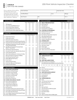 200 Point Vehicle Inspection Checklist
