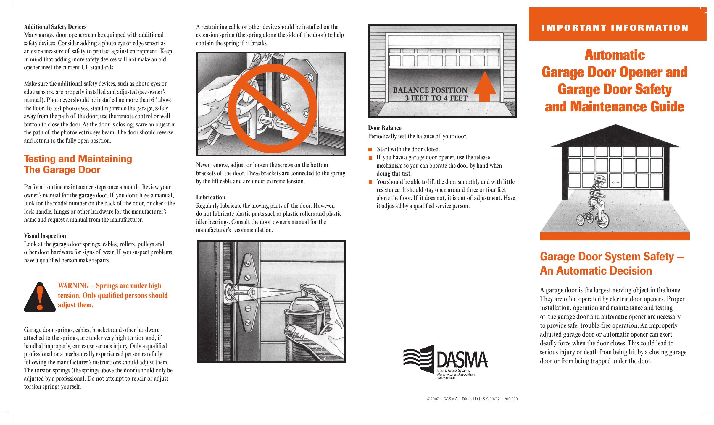 Automatic Garage Door Opener And Garage Door Safety