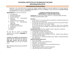 Advertisement for Faculty Position at NIT Silchar vide Advt. No.