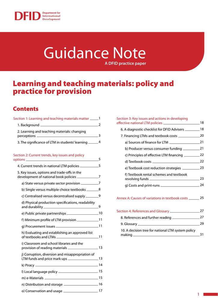 Learning and teaching materials: Policy and practice for