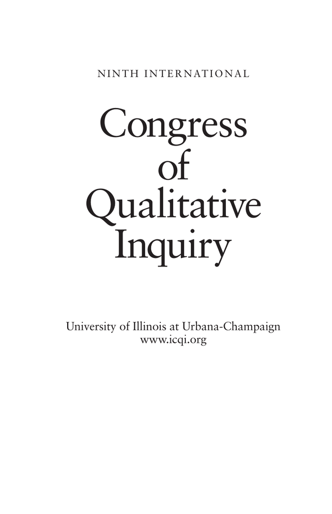 Abstracts International Congress Of Qualitative Inquiry