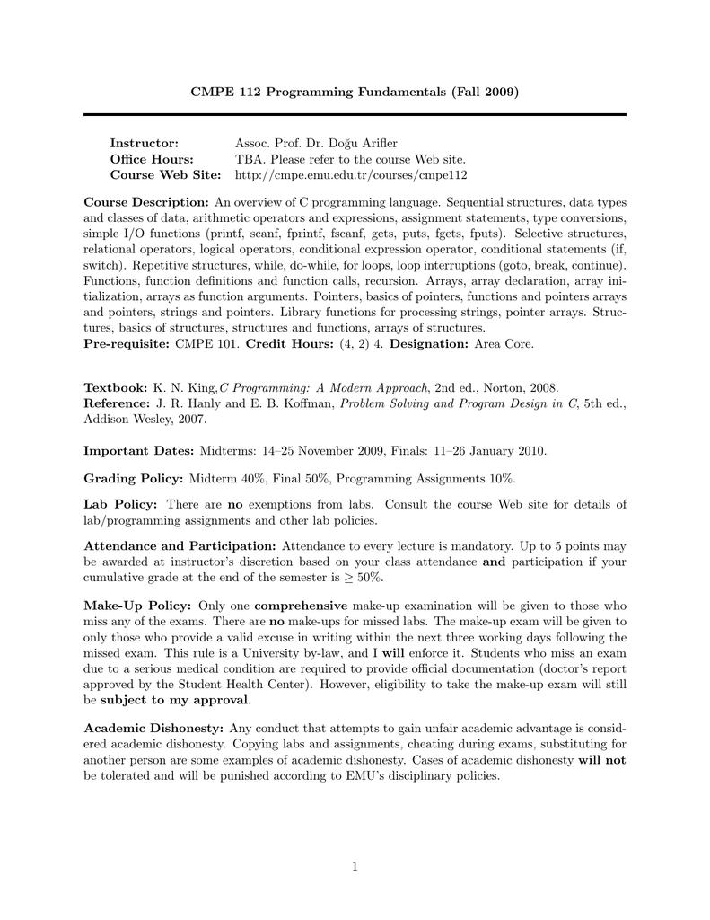 CMPE 112 Programming Fundamentals (Fall 2009)