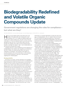 Biodegradability Redefined and Volatile Organic Compounds Update