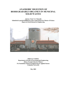 Anaerobic Digestion Of Biodegradable Organics In Municipal Solid