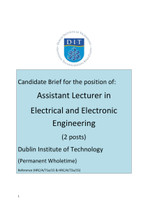 Assistant Lecturer in Electrical and Electronic Engineering