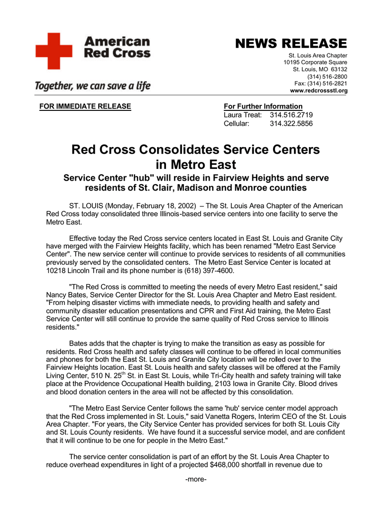 Metro Service Center >> Red Cross Consolidates Service Centers In Metro East News