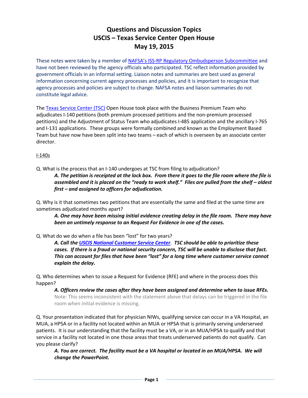 Questions and Discussion Topics USCIS – Texas Service Center