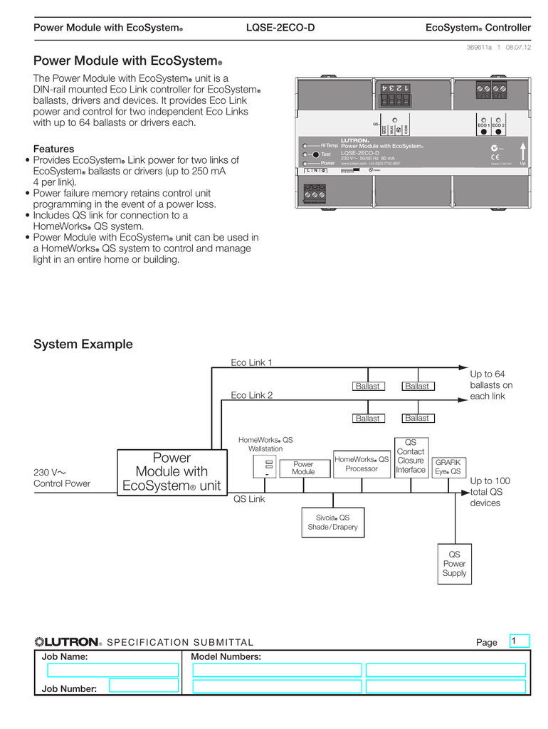 lutron ecosystem ballast wiring diagram power module with ecosystem spec submittal 369611a  power module with ecosystem spec