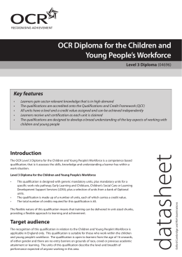 children and young peoples work force essay This qualification specification contains all the mandatory units and assessments you will need competence for the children and young people's workforce.