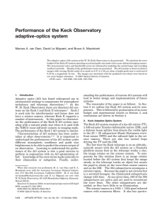 Performance of the Keck Observatory adaptive