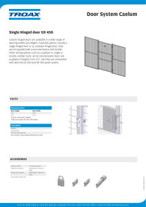 Product sheet Single Hinged Door Caelum