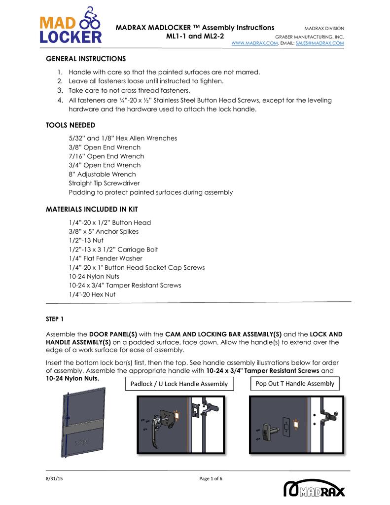 Madrax Madlocker Assembly Instructions Ml1 1 And Ml2