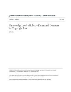 Knowledge Level of Library Deans and Directors in Copyright Law