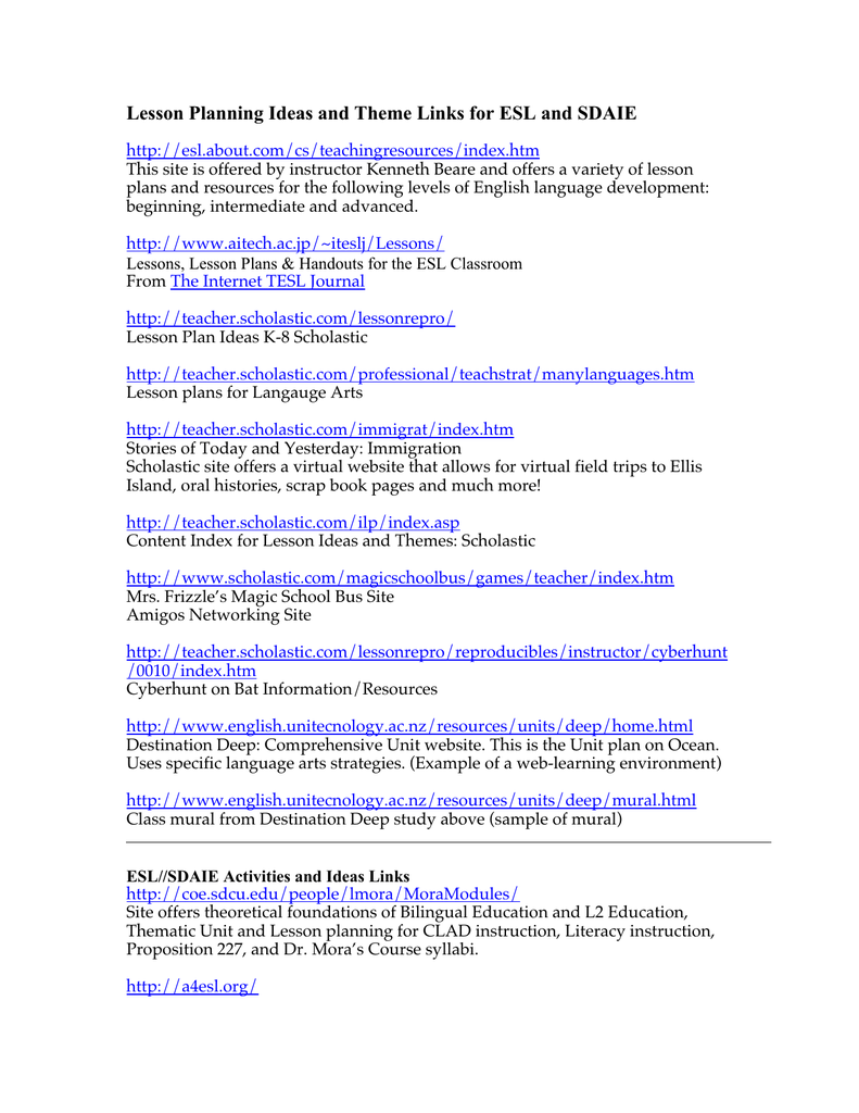 Lesson Planning Ideas And Theme Links For Esl Sdaie Http About Cs Teachingresources Index Htm This Site Is Offered By Instructor Kenneth Beare