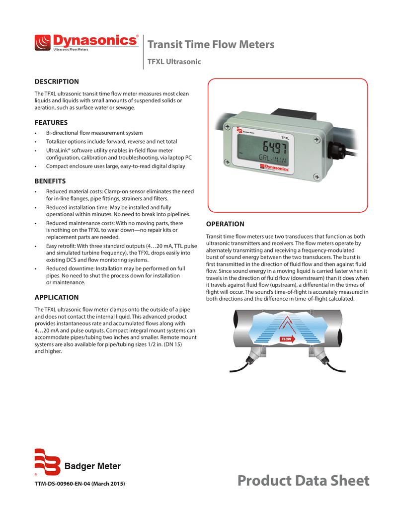 Dynasonics TFXL Ultrasonic Flow Meter Datasheet PDF
