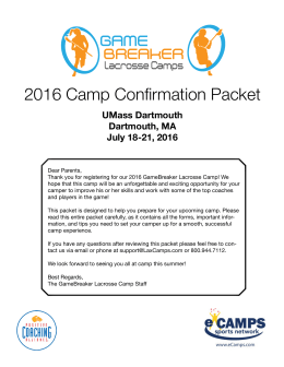 2016 Camp Confirmation Packet