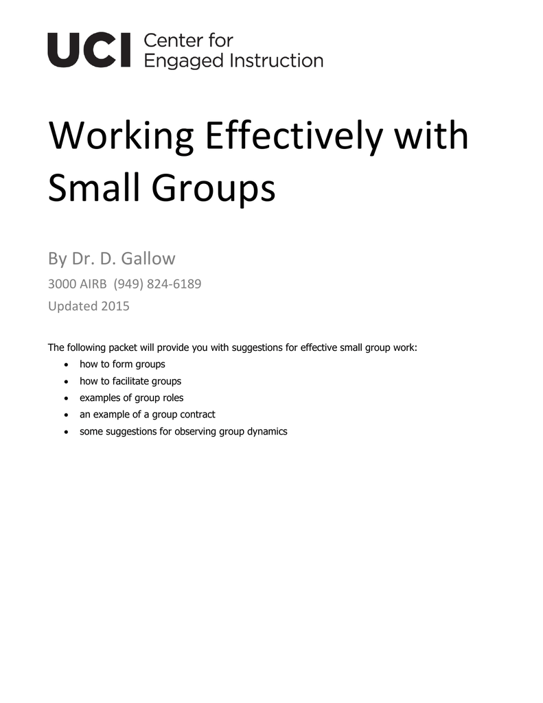 Working Effectively With Small Groups
