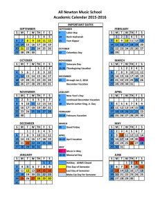 All Newton Music School Academic Calendar 2015