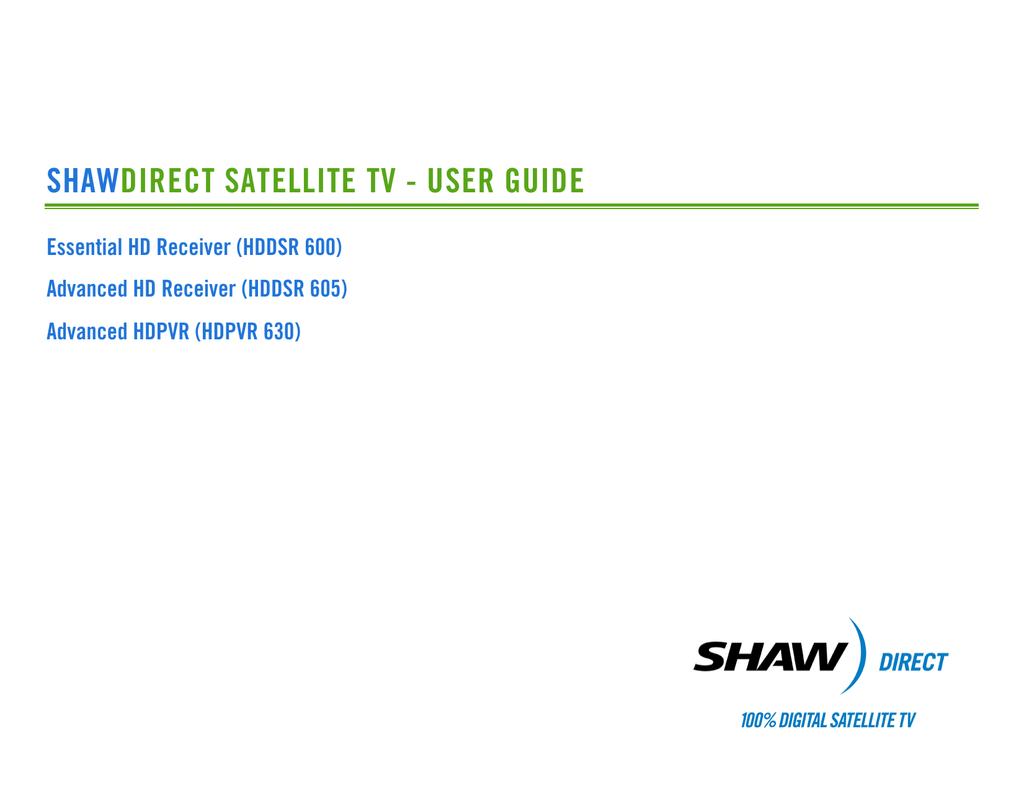 Shaw hd pvr 630 user manual.