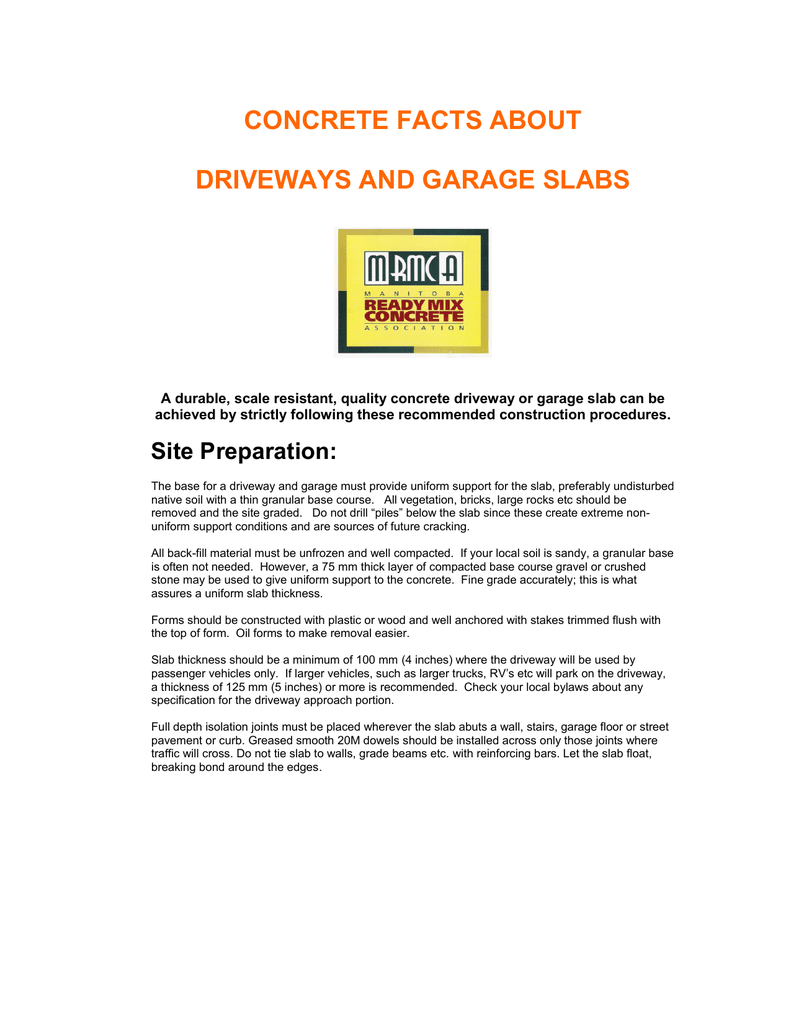 CONCRETE FACTS ABOUT DRIVEWAYS AND GARAGE SLABS