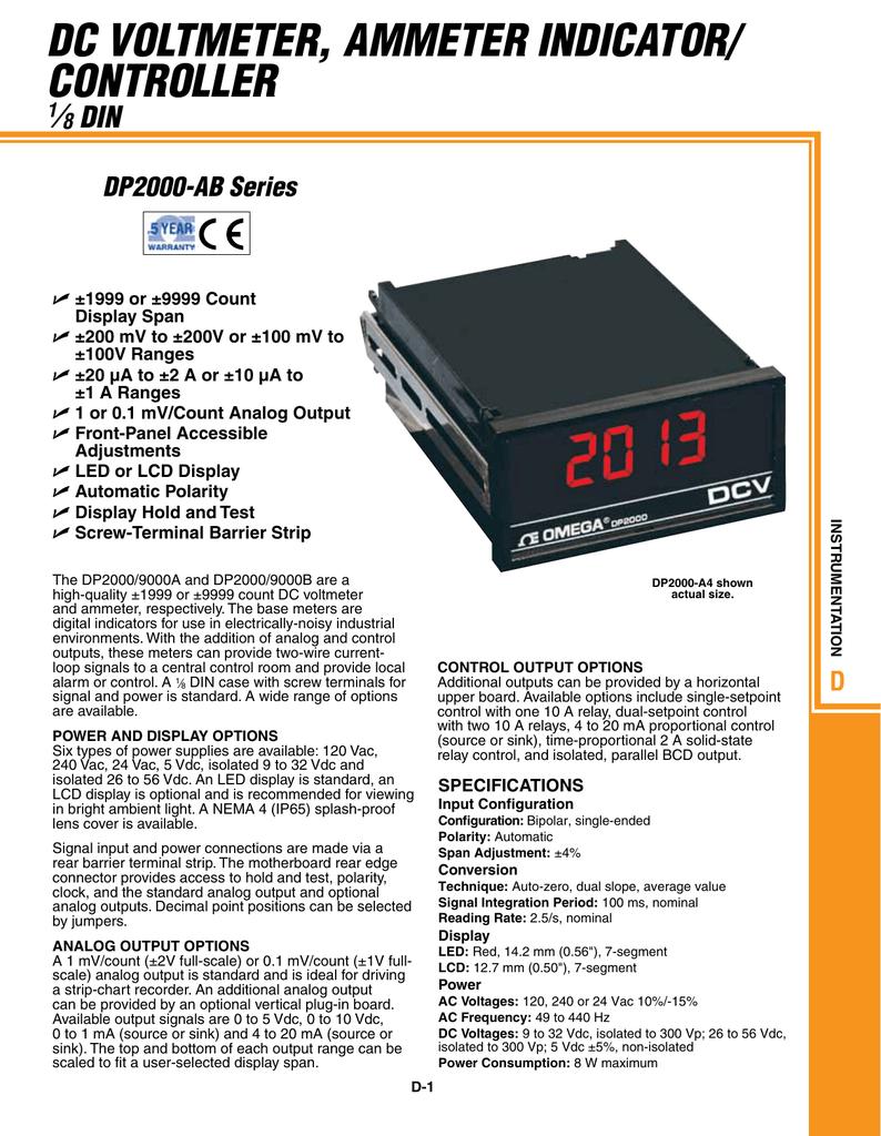 Dc Voltmeter Ammeter Indicator Controller 18 Din Lcd Panel
