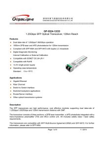 GP-5524-12CD 1.25Gbps SFP Optical Transceiver, 120km Reach