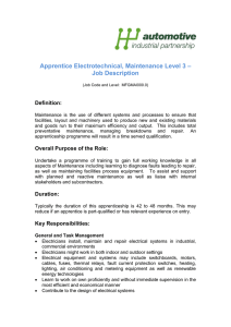 Apprentice Electrotechnical, Maintenance Level 3 – Job Description