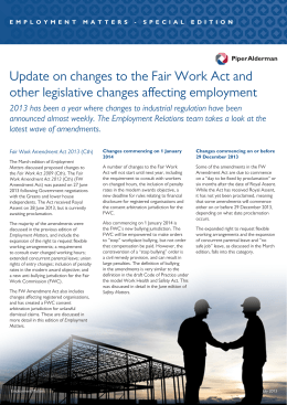 Update on changes to the Fair Work Act and other