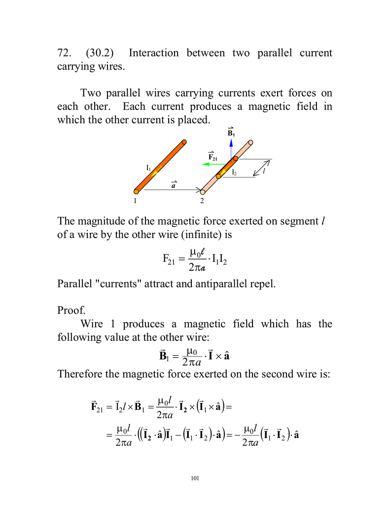 72. (30.2) Interaction between two parallel current carrying wires