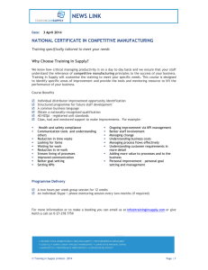 Apr 2014 – National Certificate Competitive