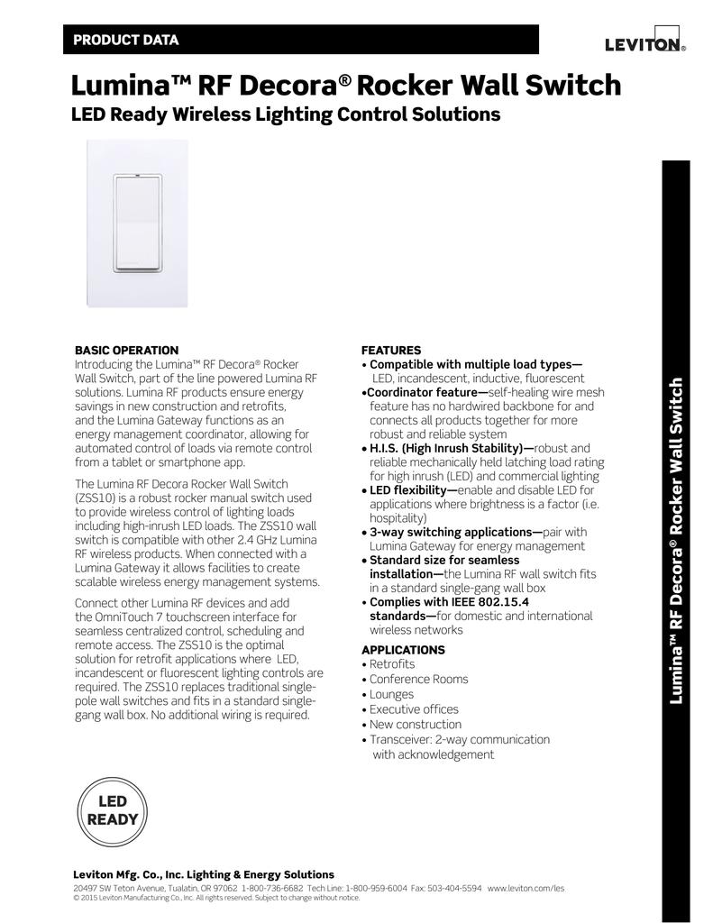 Lumina™ RF Decora® Rocker Wall Switch
