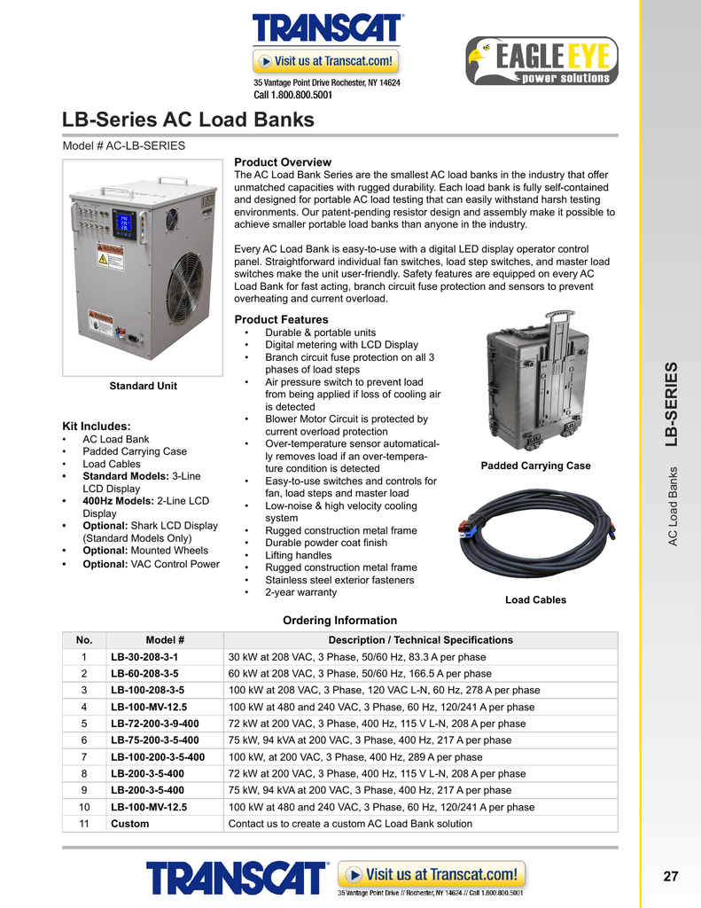 Eagle Eye Lb Series Ac Load Banks Lb75 Wiring Diagram
