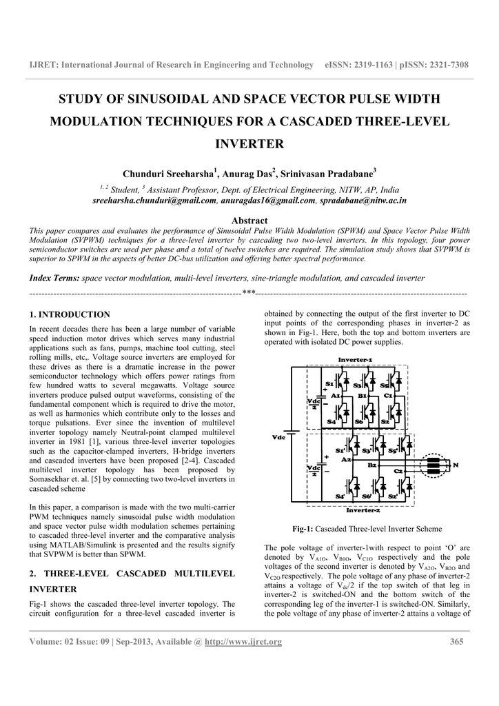 study of sinusoidal and space vector pulse width modulation