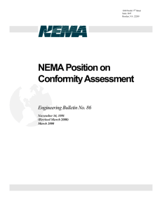 NEMA Position on Conformity Assessment Engineering Bulletin No. 86