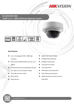 "DS-2CD2720F-IZ(S) 2.0MP 1/2.7"" CMOS ICR Dome Network Camera"