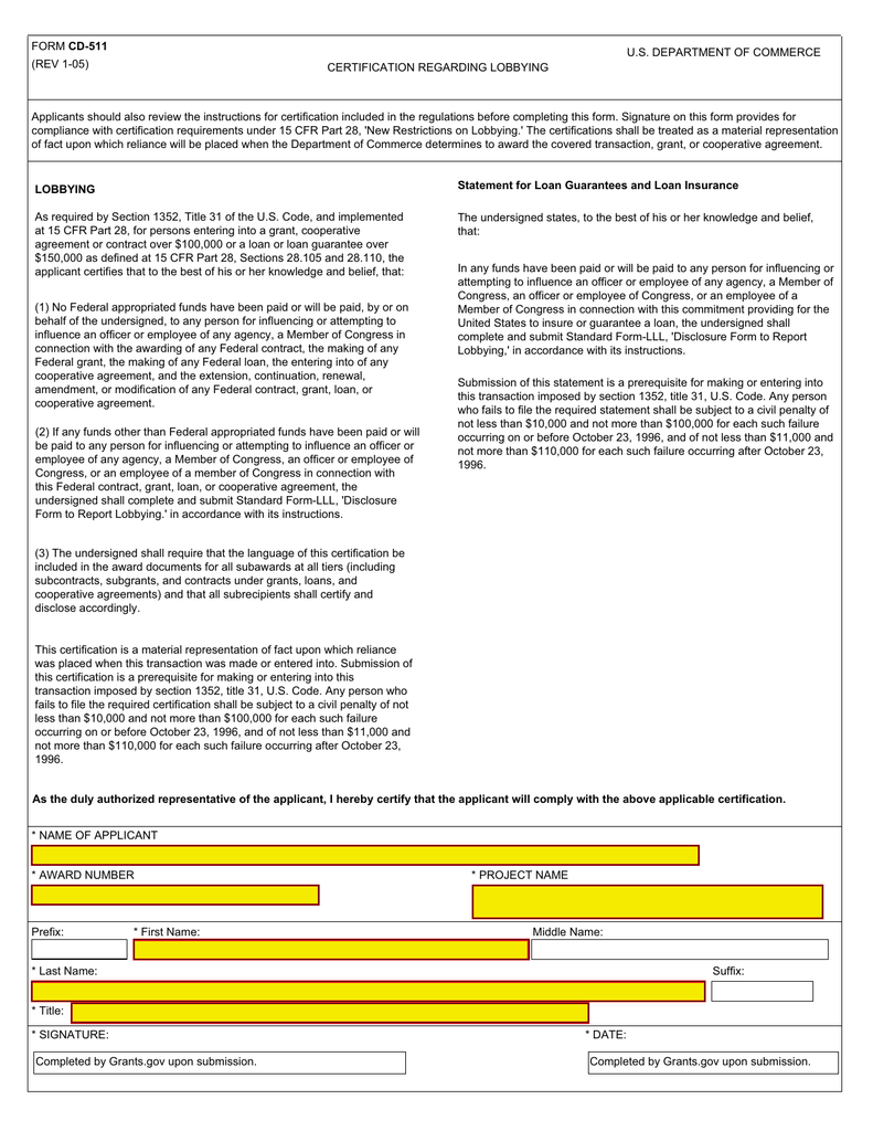 Certification Regarding Lobbying Form Cd