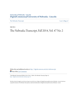 The Nebraska Transcript, Fall 2014, Vol. 47 No. 2
