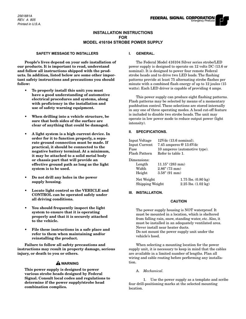 INSTALLATION INSTRUCTIONS FOR MODEL 416104 STROBE on