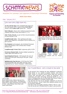 Newsletter for volunteers and supporters of Home