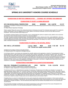 SPRING 2015 UNIVERSITY HONORS COURSE SCHEDULE
