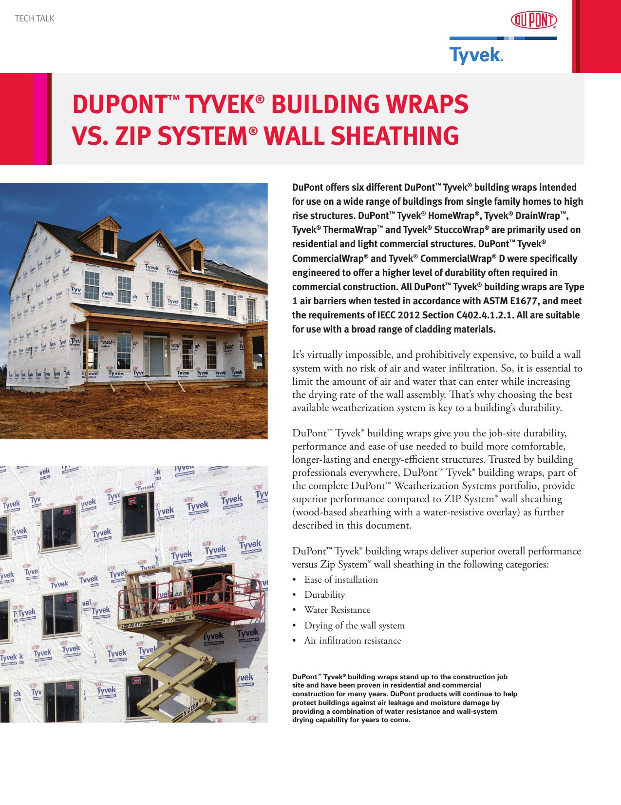 Dupont Tyvek Building Wraps Vs Zip System Wall Sheathing
