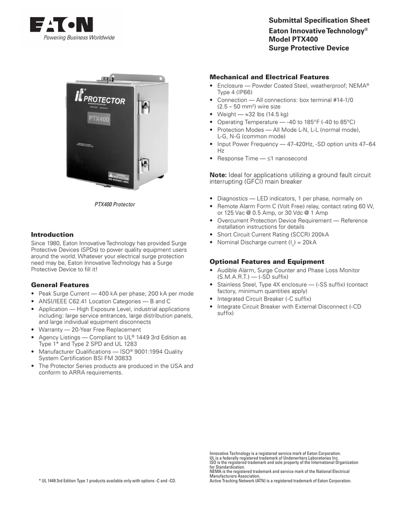 Ptx400 Models Surge Protective Devices Submittal Spec Protection From The Shortcircuit And Groundfault Device