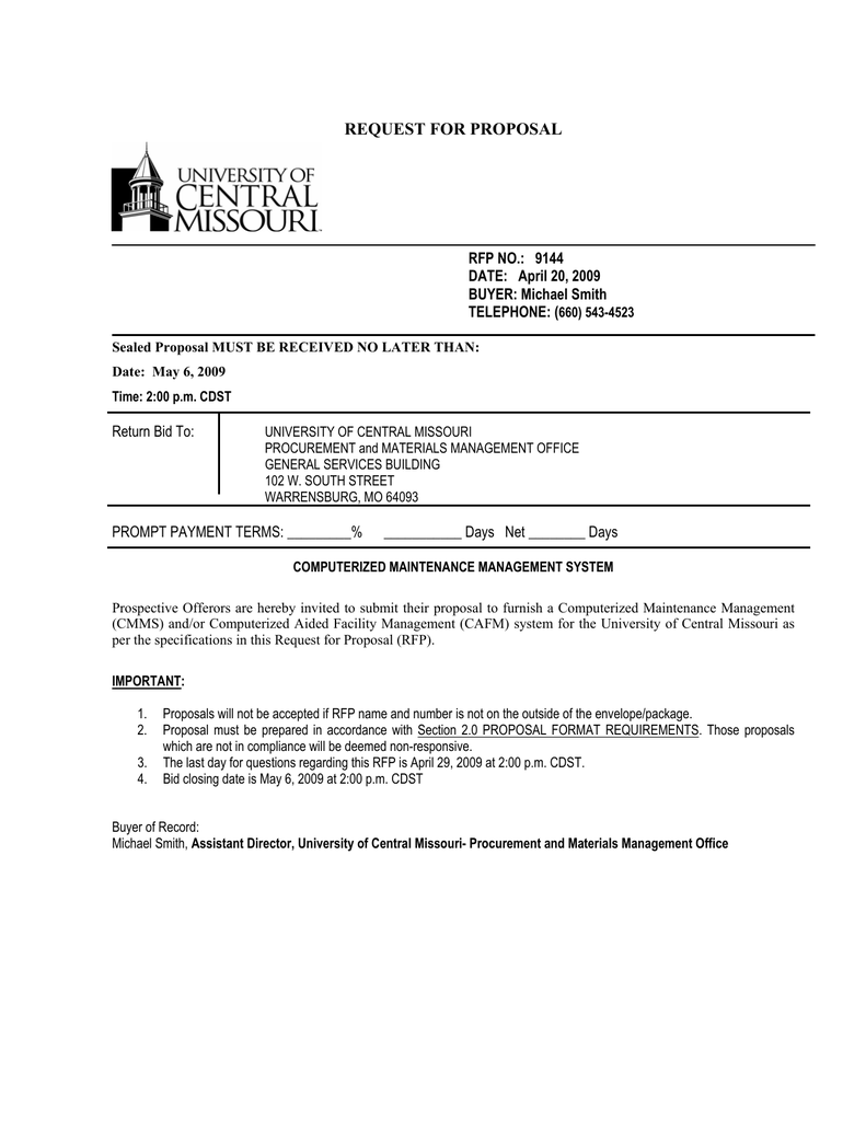 request for proposal - University of Central Missouri